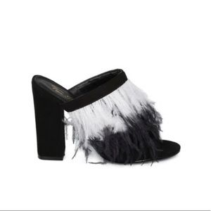 Vigo Fiore Glady Feather Peep Toe block Heel Mule